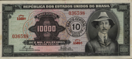 Brazilië  P189 10 Cruzeiros novos on 10.000 cruzeiros 1966-67 (No date)
