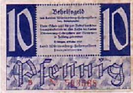Duitsland Württemberg-Hohenzollern Ros.215 10 Pfennig 1947