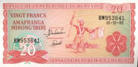 Burundi P27.b 20 Francs 1989