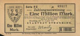 Straubing 4904.l2 1.000.000 Mark 1923