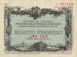 Italy - Toegangsbewijzen - Biglietto D'Ingresso  105 Lire (No date)