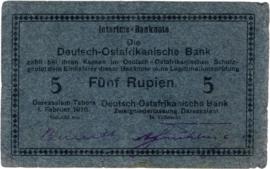 5 (Fünf) Rupien Interims-Banknote 1916. Ros933i