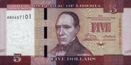 Liberia P31.a 5 Dollars 2016-'17
