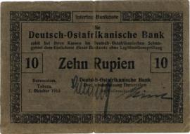 10 (Zehn) Rupien Interims-Banknote 1915. Ros912a:BANK