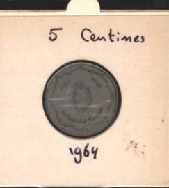 Algerije 5 Centimes 1964 KM96