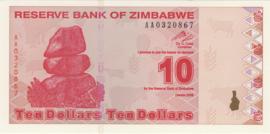 Zimbabwe 10 Dollars 2009 B185.a