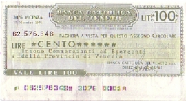 Banca Cattolica del Veneto - 100 Lire