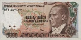 Turkije P197 5.000 Lira 1985 (1970-10-14)