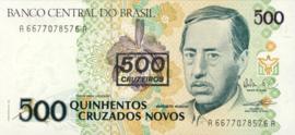 Brazilië P226.b 500 Cruzeiros on 500 Cruzados Novos 1990 (No Date)