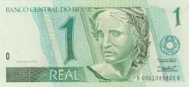 Brazilië P243.d: 1 Real ND (1994-1997) UNC