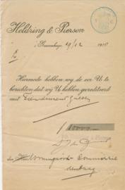 Nederland, Den Haag, Heldring & Pierson, Stortingsbewijs, 1918