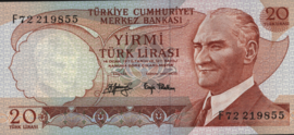 Turkey P187 20 Lira 1970