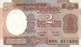 India P79 2 Rupees 1988 (No date) Sign Malhotra