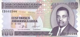 Burundi P37.a 100 Francs 1993