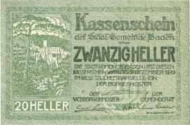 Oostenrijk - Noodgeld - Baden KK74.a 20 Heller 1920