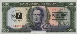 Uruguay P54 ½ Nuevos Pesos on 500 Pesos 1975 (No date)