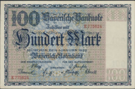 Bayerische Notenbank 100 Mark 1922 Ros.BAY04
