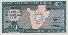 Burundi P33 10 Francs 1981-2007