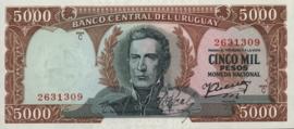 Uruguay P50.g 5.000 Pesos 1967 (No date)