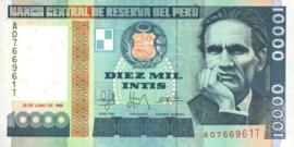 Peru P140 10.000 Intis 1988