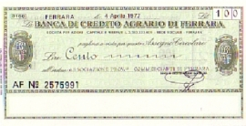 Banca di credito agrario di Ferrara - 100 Lire
