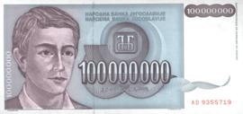 Joegoslavië P124 100.000.000 Dinara 1993