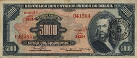 Brazilië P188.b 5 Cruzeiros Novos on 5.000 Cruzeiros 1966-67 (No date)