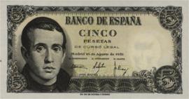 Spanje  5 Pesetas 1951 P140a