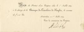 Nederland, Amsterdam, Reçu, Banque du Tavolière de Naples, 1839