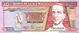 Guatemala P75.b 10 Quetzales 1990-92