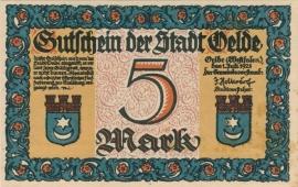Velde 5 Mark 1921 UNC