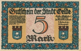 Oelde 5 Mark 1921 UNC