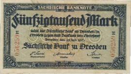 Sächsische Bank zu Dresden 50.000 Mark 1923 Ros.SAX16