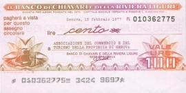 Il Banco di Chiavari e della Riviera Ligure - 100, 200 & 300 Lire 1977.02.15 Series