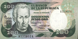 Colombia P429.d 200 Pesos Oro 1983-91