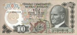 Turkije P189.d 100 Lira 1970-10-14 (No date)