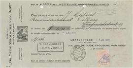 Nederland, Den Haag, Verzekeringspolis, Polis en nota, 1923