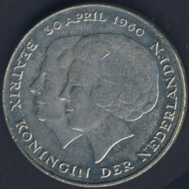 Nikkel 2½ Gulden 1980 Dubbele kop