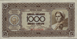 Joegoslavië P67.a 1.000 Dinara 1946