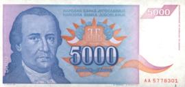 Joegoslavië P141 5.000 Dinara 1994