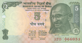 India P88A B279a3 5 Rupees 1996-2002