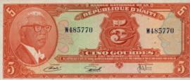 Haïti P212 5 Gourdes 1973 (No date, L1919)