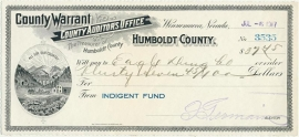Nevada, Humboldt County Warrant, Indegent Fund, Winnemucca. 1917