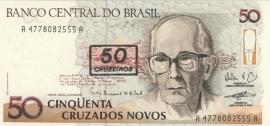 Brazilië P223: 50 Cruzeiros on 50 cruzados Novos No Date 1990 UNC