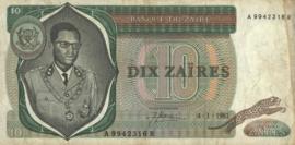 Zaïre (Congo Kinshasa) P24.b 10 Zaïres 1979-81