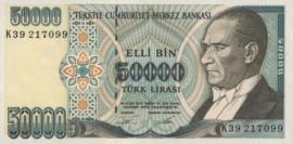 Turkije P204.a 50.000 Lira 1995 (No date)