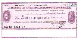 Banca di credito agrario di Ferrara - 150 Lire