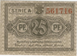 Mecklenburg-Schwerin Staatsministerium, Schwerin 25 Pfennig 1922