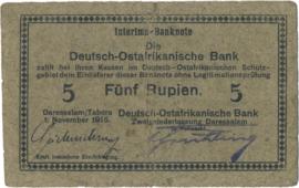 5 (Fünf) Rupien Interims-Banknote 1915. Ros921c