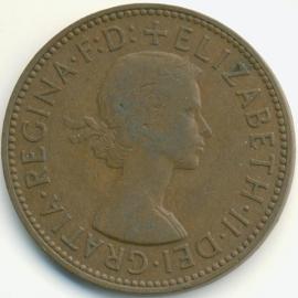 Engeland ½ PENNY 1957 KM# 896